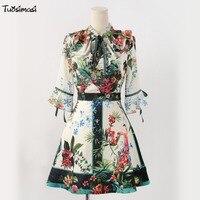2008 summer psring flare sleeve floral print vintage retro line A mini Dress(E019)