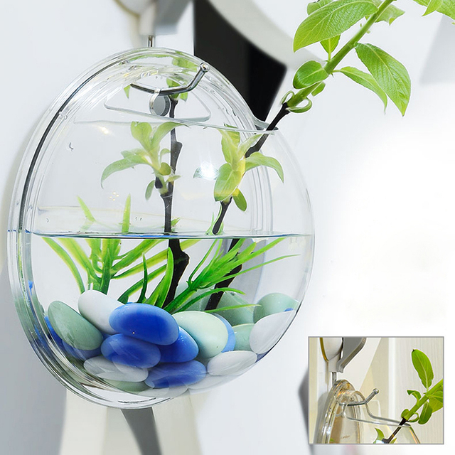 Home Decoration Transparent Plants Flower Pot Wall Hanging Vases Mount Bubble Aquarium Bowl Fish Tank Aquarium XP0353