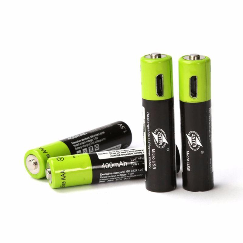 Znter AAA Rechargeable Batterie 400 mah Mirco USB 1.5 v Rechargeable au lithium polymère batterie avec câble de recharge