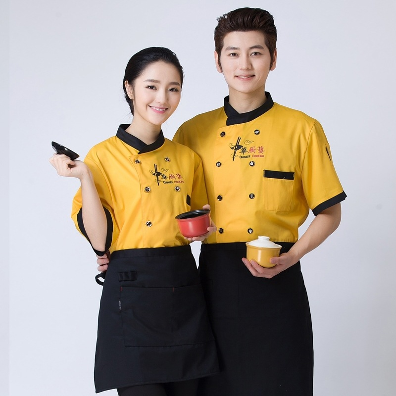 Summer Chef Dress Short-sleeved Hotel Hotel Kitchen Chef Long Black Chest Embroidered Overalls Summer Clothes B-6150