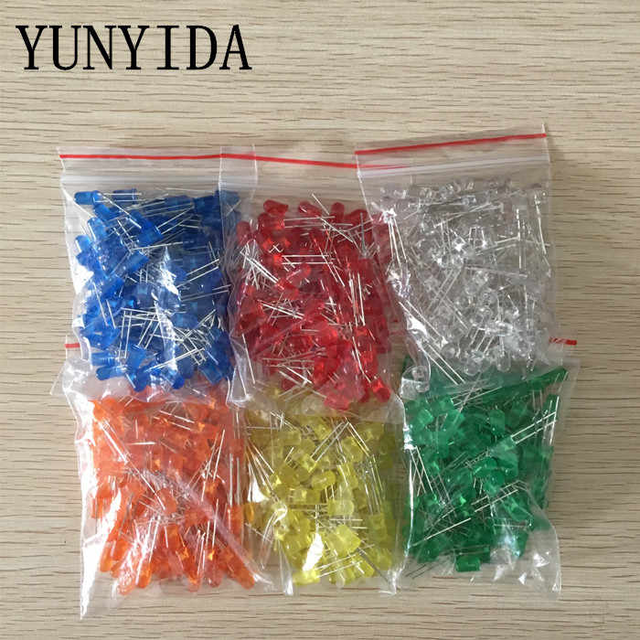 600pcs(6 colors x 100pcs) White Red Green Blue Yellow Orange 5mm LED Diffused Light-Emitting Diode  3V Lamp Assorted Kit Set