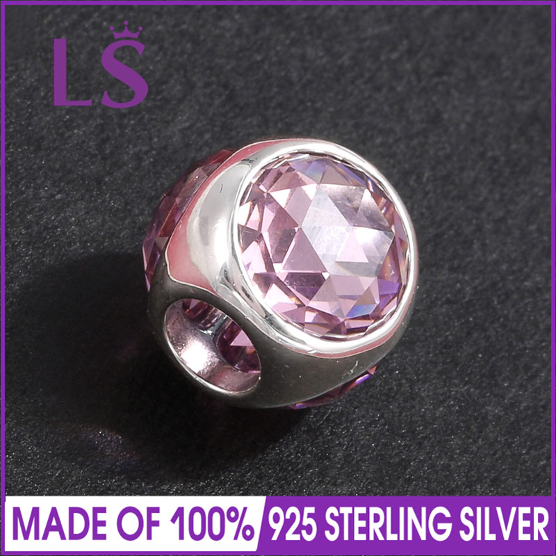 LS High Quality 100% Real 925 Silver Pink Radiant Droplet Charm Beads Fit Original Bracelets Pulseira Encantos.Fine Jewlery.J