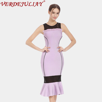 Fashion Bodycon Dresses Women 2018 Spring Hot Sale Sexy New Color Patchwork Sleeveless Lavender Pink White