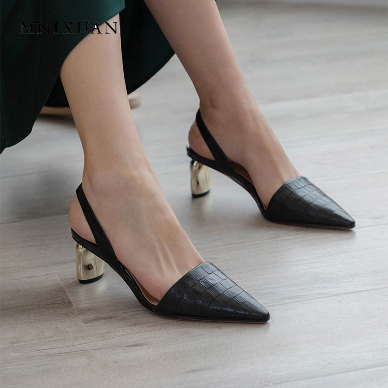 MNIXUAN Handmade classics women shoes sandals thick medium heels 5cm 2019 new genuine leather pointed toe