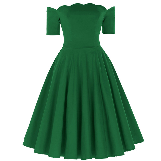 2a330f5cbcd0 Green Red Black Dress Off Shoulder Dresses Short Sleeve Vintage 50s  Rockabilly Swing Robe Femme 2018 Pinup Dresses Vestidos