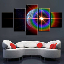 Abstract Paintings Decor Modern Wall Art Frame HD Prints 5 Pieces Earth Planet Sunshine Rainbows Posters Modular Pictures Canvas