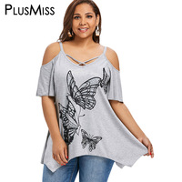 PlusMiss Plus Size 5XL Off Shoulder Butterfly Graphic Print Loose T Shirt Ladies Short Sleeve T-shirts Women Big Size   Tops     Tee