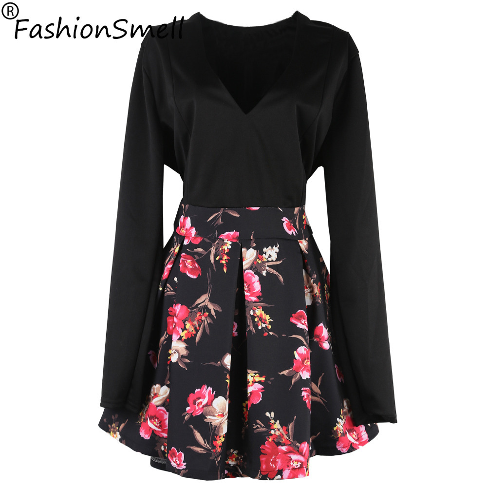 Buy Cheap Vintage Casual Printed Mini Dress Plus Size Women Sexy Dresses Tropical Flower Print Dress V Neck Vestidos Dress Roupas