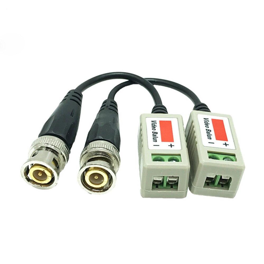2 Pcs (1 Pairs)CCTV Camera Passive Video Balun BNC Connector Coaxial Cable Adapter