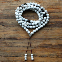 Inelastic 8mm 99pcs Round Howlite Stone Beads Buddhist Prayer Jasper Rosary Mala Necklace For Woemn Men