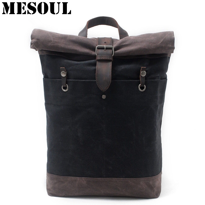 Men Backpack Mochila Waterproof Laptop School Bags Vintage College Style Student Bag Canvas Travel Military Backpack Rucksack pretty style pure color canvas women backpack college student school book bag leisure backpack travel bag