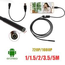 Endoscope1/1.5/2/3.5/5m 7mm lens 480P HD Waterproof OTG Android Phone Inspection Camera Pipe Mini USB Snake Tube with 6 LEDs(China)