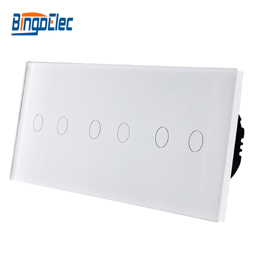 Commutateur de type UE, 6 touch gang wall light smart switch, combinaison Libre, AC110-250V Vente Chaude