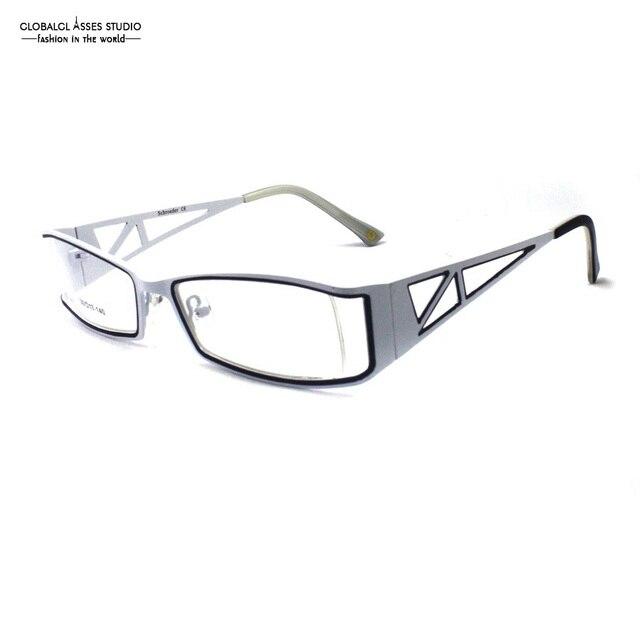 Latest Design Popular Rectangle Lens Men White Metal Frame Hornless Triangular Hollow Wide Temple Optical Eyeglass SC103 C003
