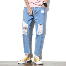 2017 Новое Отверстие Джинсы Мужские Модный бренд одежды Повседневная Брюки Джинсовая Slim Fit Мужчины Жан Мужской Брюки Лодыжки Длины брюки