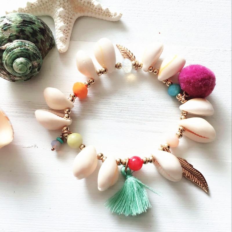 Dongmu Jewellery New 2018 Shell Charm Bracelets Handmade Elastic Bracelet For Women Natural Stone Tassel Trendy Lace-up