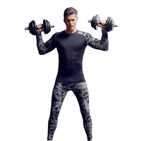 Men fitness top and leggings compression shirts bodybuilding crossfit long sleeve t shirts men slimming elastic suits