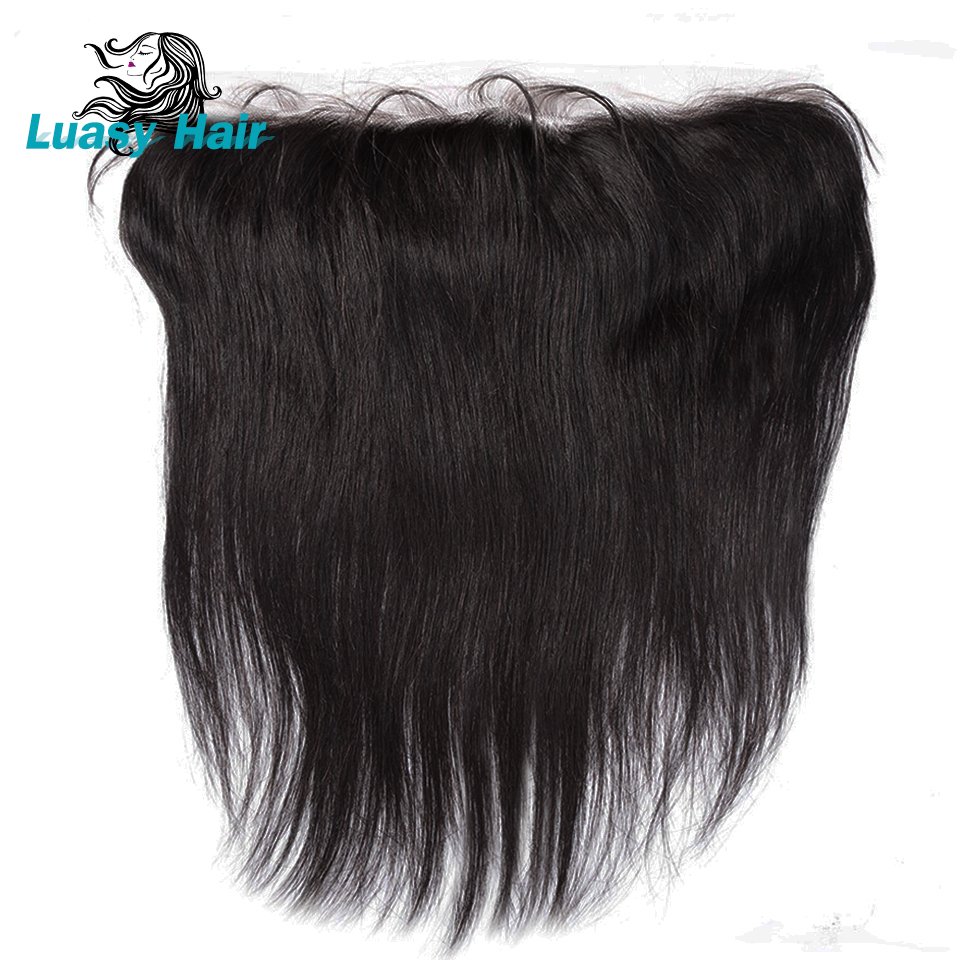 Luasy Brazilian Straight Hair Lace Frontal Closure 13X4 Ear To Ear Pre Plucked Free Part Remy Human Hair Closure Natural Color-in Closures from Hair Extensions & Wigs    1
