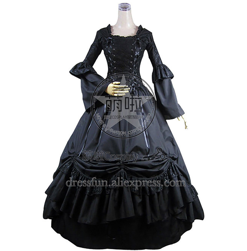 Victorian Gothic Lolita Black Dress Ball Gown Prom With Tie And Lace Decorated And Beautiful Ruffles Elegant For Halloween Party