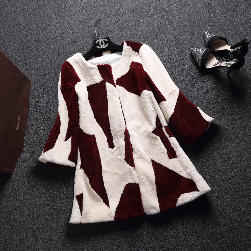 100 bleu Fourrure rose D'agneau Des Vêtement De Vêtements Veste Manteau Moutons Rouge D'hiver noir Unique Tonte Réel 6HYxnfqar6