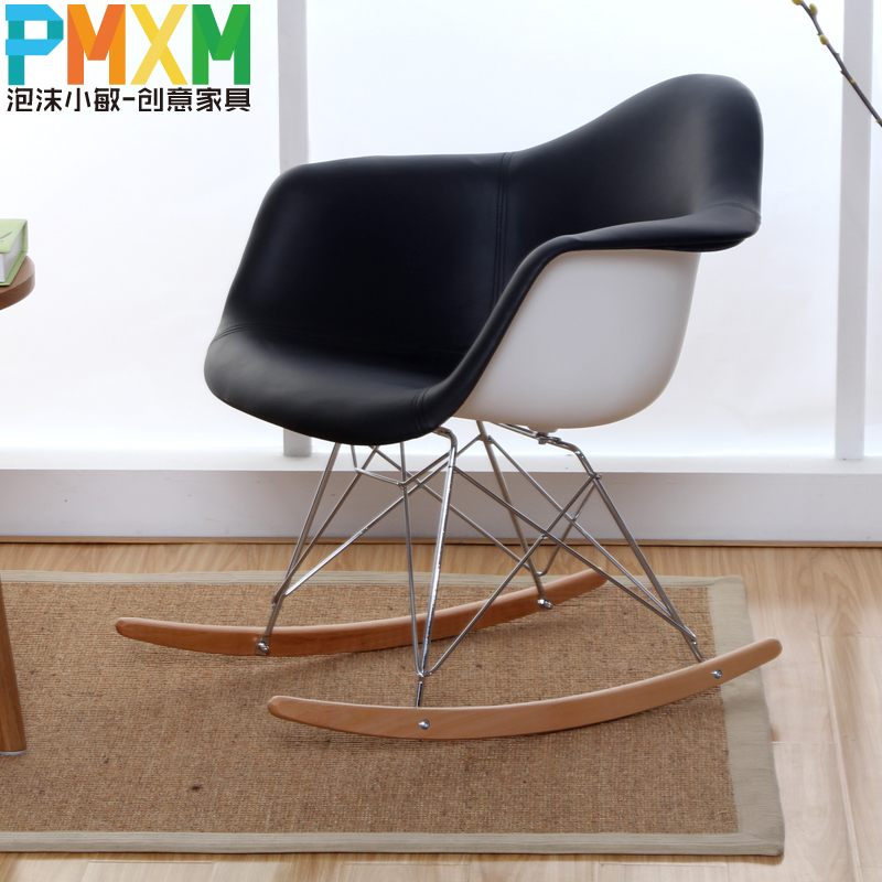 pu leather armrest eames chair simple casual dining chairs