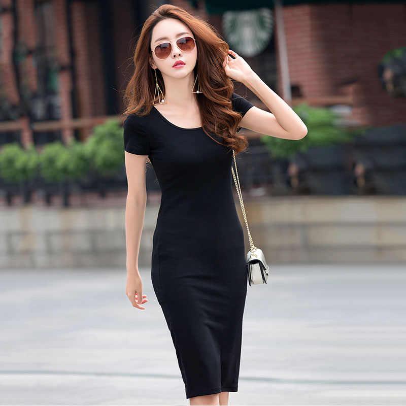 Хлопковая футболка Платья Летние женские длинные футболки платье женское облегающее платье на бретелях женские черные серые с коротким рукавом сексуальные MD1