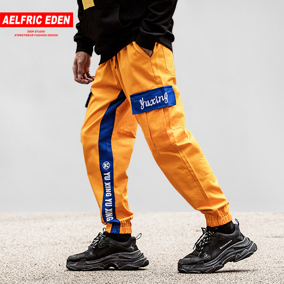 Aelfric 2018 Autumn Side Letter Color Block Patchwork Harem Joggers Mens Hip Hop Casual Track Pants Male Fashion Streetwear Ye30