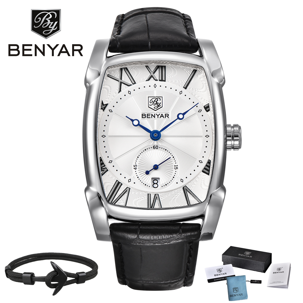 Luxury Brand BENYAR Leather Men's Watches Sports Square Men Quartz watch Clock Military Watch Relogio masculino erkek kol saati цена