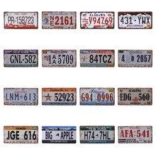 Cartel de números de pared de California, decoración del hogar Vintage, placa de para automóvil de EE.UU. de hojalata de Nueva York, placa de licencia de Metal de Nevada, Oregón 15X30CM C20