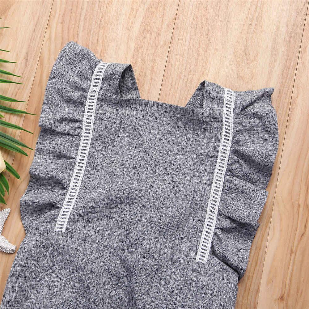 2018 Новый брендовый милый кружевной комбинезон с открытой спиной для новорожденных девочек, комбинезон без рукавов с оборками, джинсовая одежда