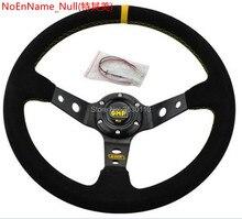 14 дюймов 350 мм OMP спортивный руль Авто Руль замша рулевое колесо желтая линия