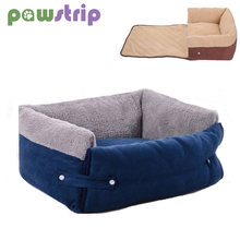 Winter Warm Pet Dog Bed Soft Fleece Dog Sofa Bed Waterproof Bottom Puppy Kennel House Pet Beds Blanket For Cats/Dogs cama perro(China)