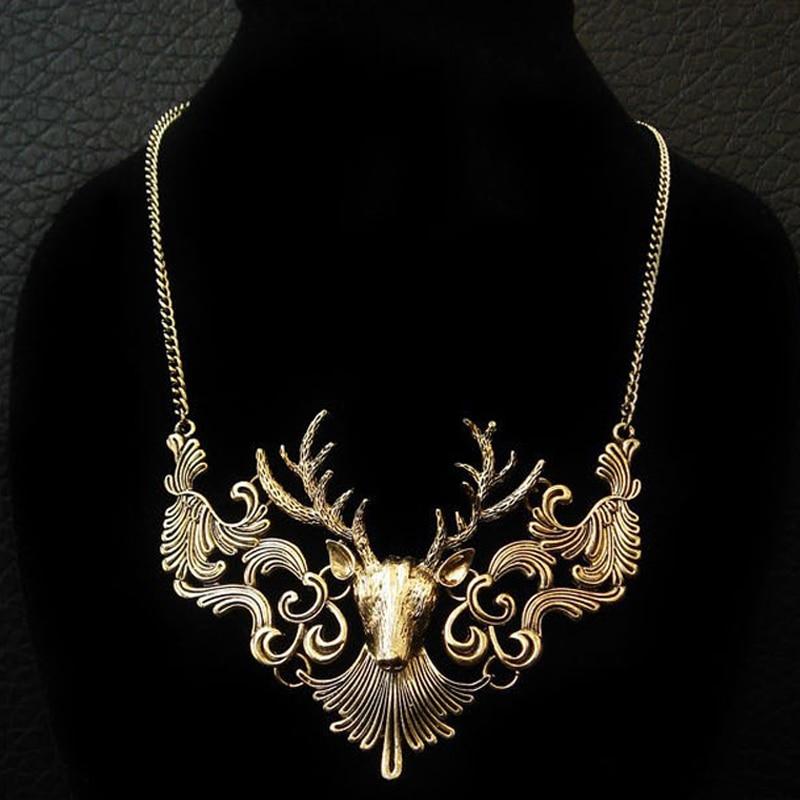 BONLAVIE 1 pezzo Charming Elk Deer Collare Pendente Classico Vintage Statement Collana Squisita Collana Girocollo Gioielli popolari