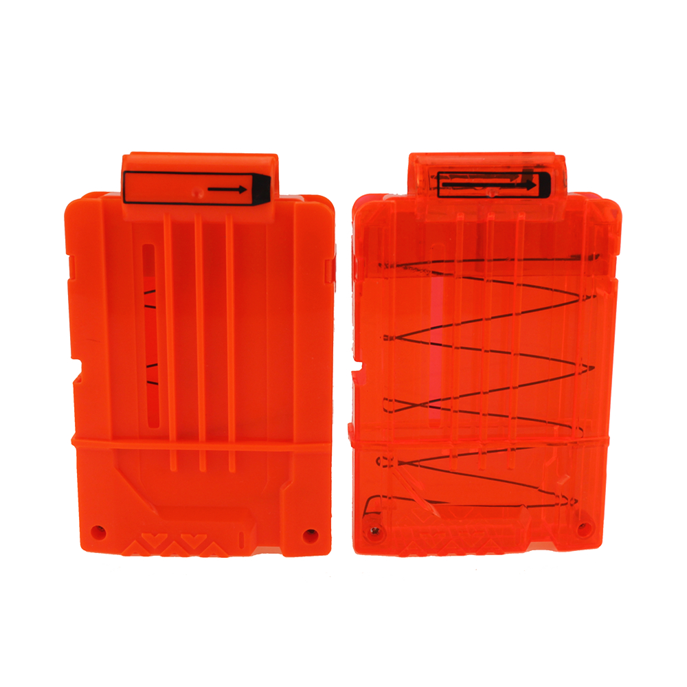Купить с кэшбэком 6 Reload Clip Magazines Round Darts Replacement Plastic Magazines Toy Gun Soft Bullet Clip Orange For Nerf N-Strike Elite