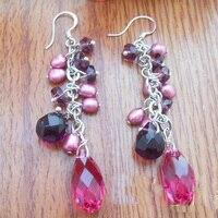 Elegant 100% Genuine Freshwater Pearl Dangle Earrings For Women,Handwork Purple Crystal Rice Pearl Jewellery