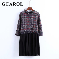 GCAROL Euro Style Tweed Spliced Women Dress Chiffon Pleated Dress Tassels Design Autumn Winter Fashion Female