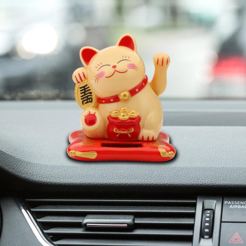 Car Accessorie Cartoon Plastic Doll 2.5 inch Cute Shaking Hands Solar Lucky Fortune Cat Car Auto Interior Ornaments