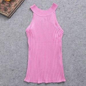 Image 5 - 2017 hot sale Women Summer Camisole Knitted Halter Off Shoulder O neck Vest Slim Tank Tops
