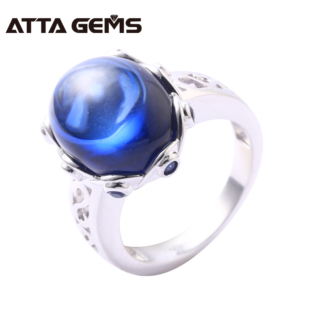 Blue Sapphire Sterling Silver Rings Cabochon 6.8 Carats Created Sapphire Women and Men Business Style Wedding Engagement Rings blue sapphire silver bracelet for women tennis bracelet wedding party 15 carats 45 pieces created blue sapphire luxury style