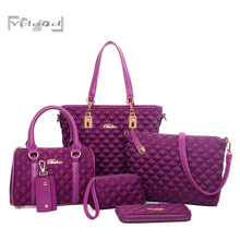 Factory outlets bolsos mujer Classic luxury 6 sets fashion Diamond Lattice women Oxford cloth leather messenger shoulder bag