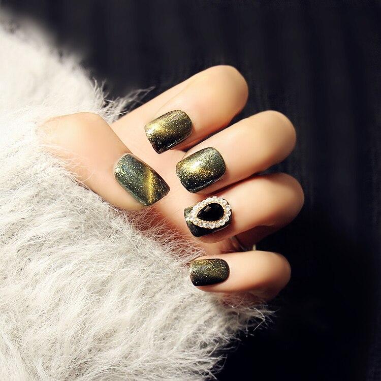 Super beautiful green galaxy UV gel false nails with glue Japanese ...