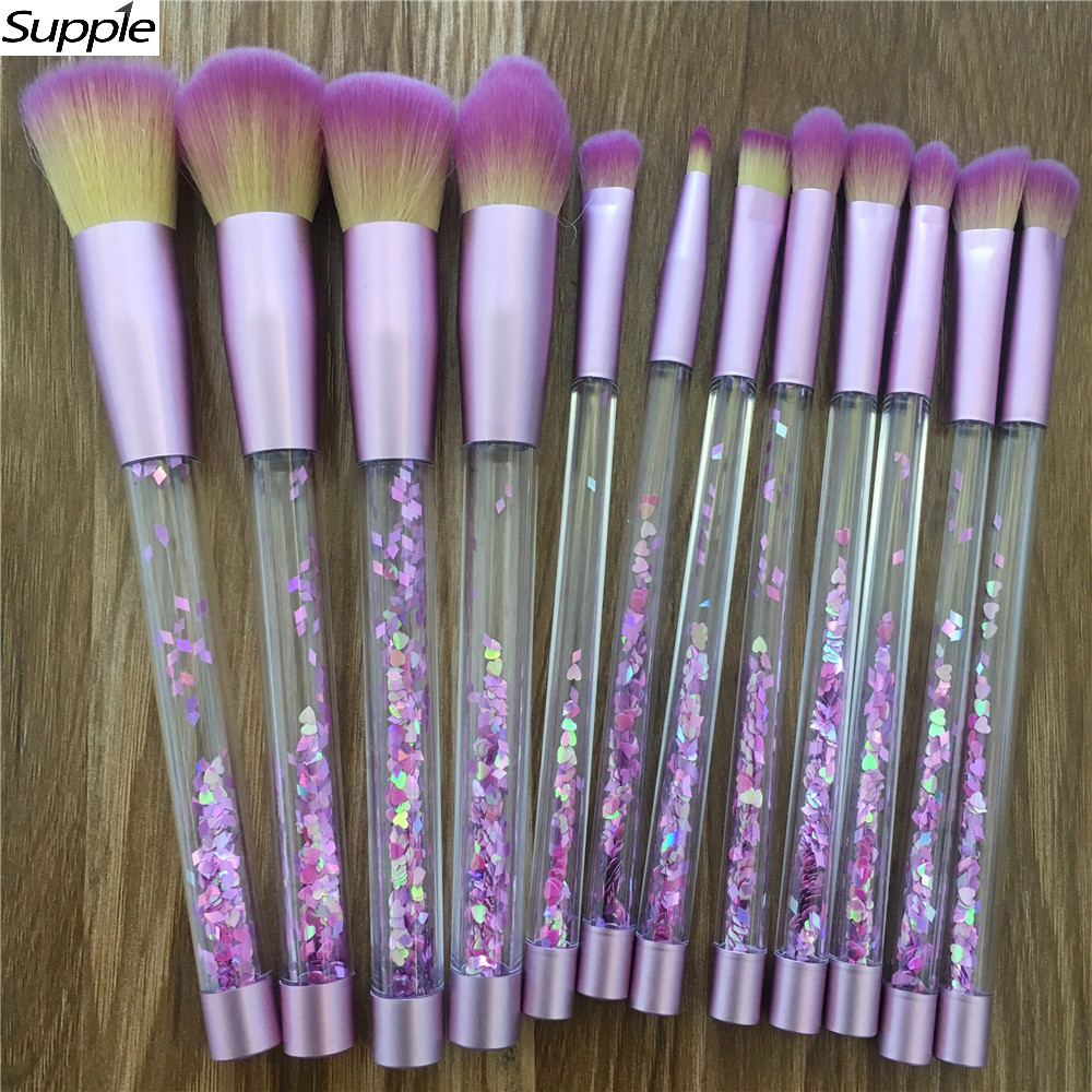 12pc Glitter Crystal Makeup Brush Set Diamond Pro ...