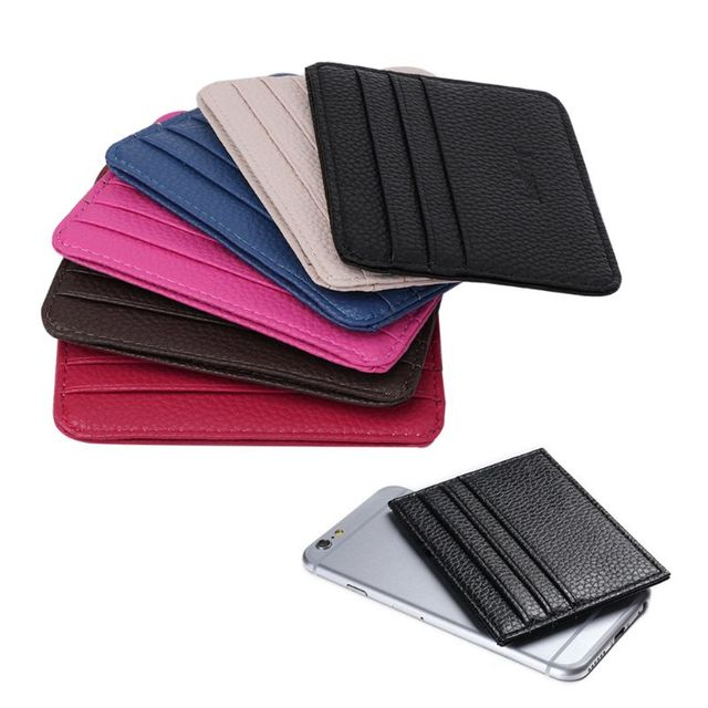 6 Color Card Holder Men's Business Pocket Slim Thin ID Credit Card Money Holder Wallet  Faux leather Man Card Case Wallets 2