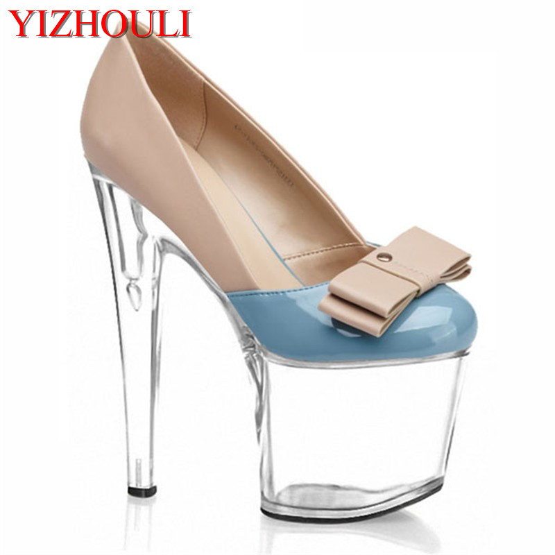 Spring and summer new fashion high heels nightclub bar T stage bow 2018 sell like hot cakes