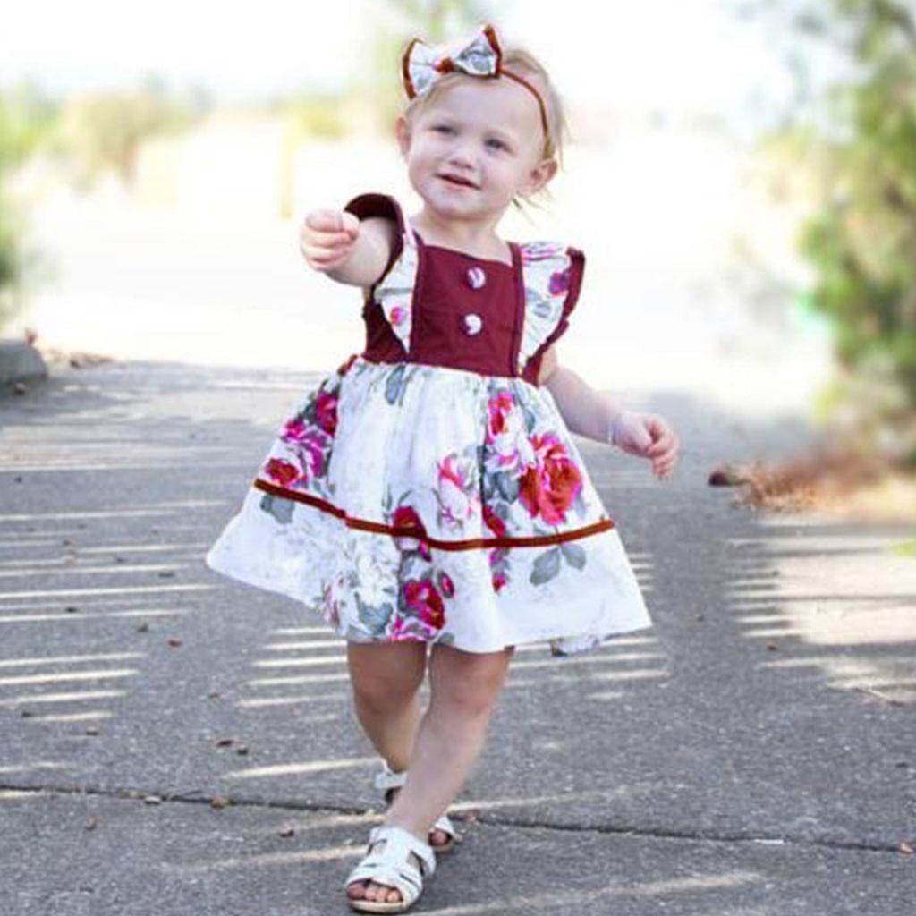 MUQGEW 2019 Baby Girl Clothes Toddler Kids Baby Girls Ruffled Floral  Casual Princess Dress Sundress Dropshipping Roupa Infantil
