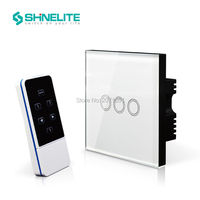 UK Standard Black Crystal Glass Panel 3 Gang 1 Way Light Touch Switch Push Button Wall