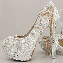 Newest Style Stunning Rhinestone Pearl Wedding Shoes Crystal Pride Pedding High Heel Pumps Dress Pearl Pregnant Pumps Shoes