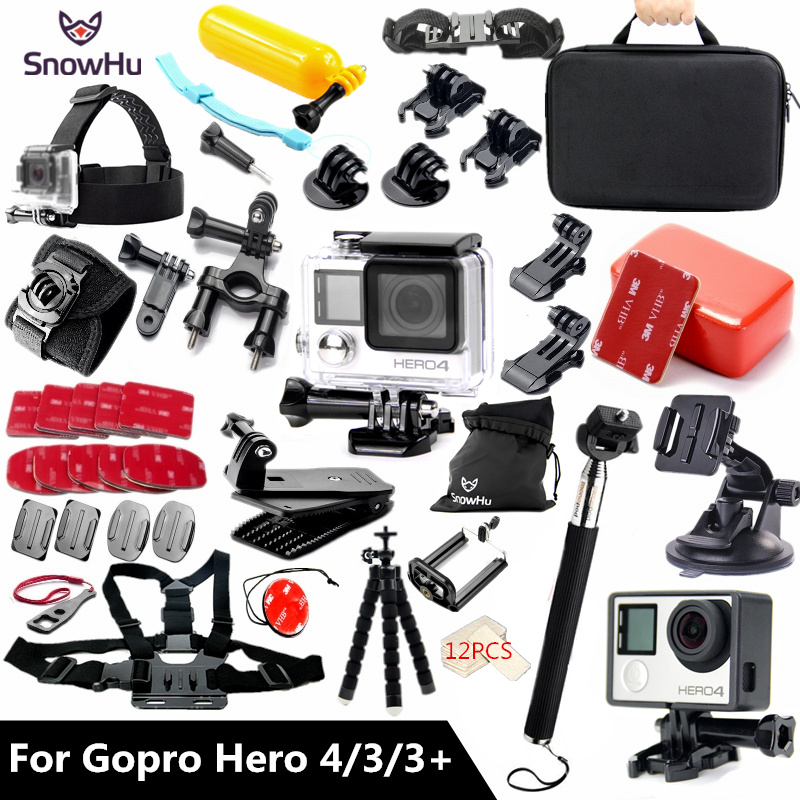 SnowHu For Gopro accessories set Gopro hero 4 3 3+ waterproof protective case chest mount Monopod for go pro hero 4 3 3+ GS60 pj 002 protective silicone case wrist band for gopro hero 3 3 wi fi remote controller red
