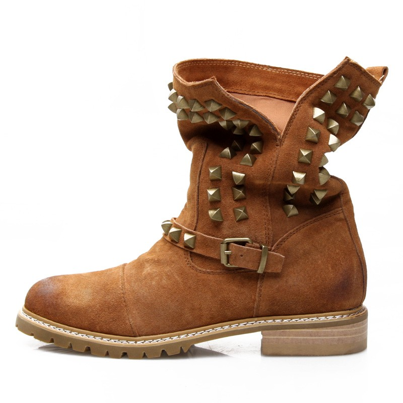 ФОТО Vintage genuine leather rivet boots women's shoes boots nubuck leather fashion martin boots spring and autumn single boots