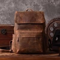 Brand Designer Men Genuine Leather Backpack Crazy Horse Vintage Daypack Multi Pocket Casual Rucksack Vintage Handmade
